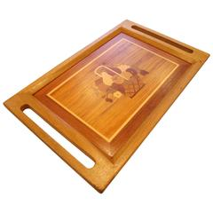 1960s Decorative Antique Philippine Mahogany with Exotic Wood Serving Tray