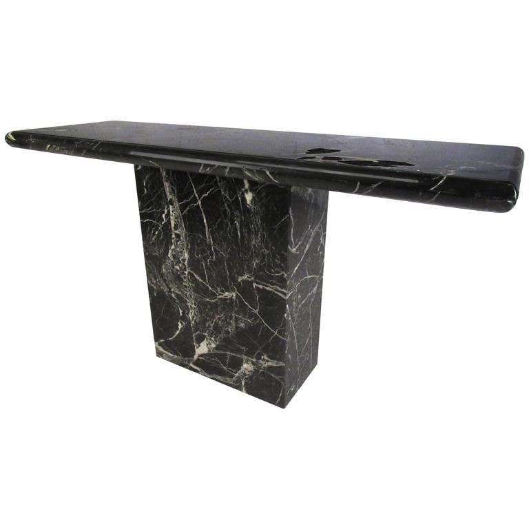 Mid-Century Modern Black Marble Finish Console Table