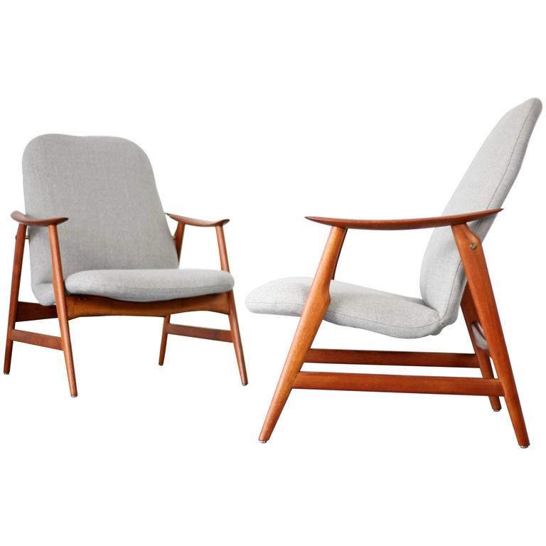 Two Mid-Century Modern Teak Easy Chairs 1