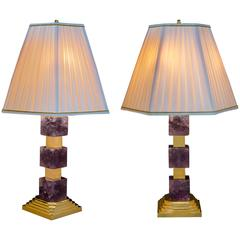 Amethyst Art Deco Style Lamps by Alexandre Vossion