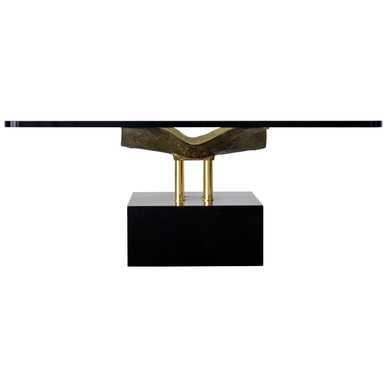 Mid century glass coffee table italian design 1970s for - Coffee table italian design ...