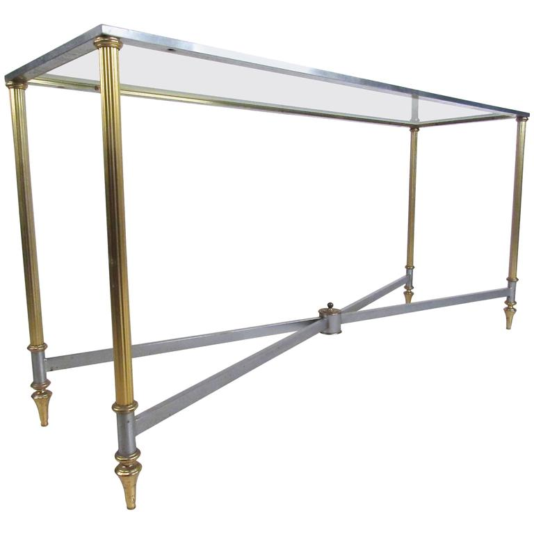 Vintage Brass and Steel Console Table, Mid-Century Maison Jansen Style Table For Sale