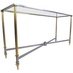 Vintage Brass and Steel Console Table, Mid-Century Maison Jansen Style Table