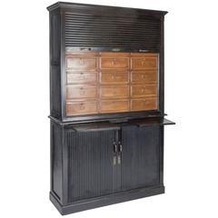Rare Ebony and Cherry Notary Cabinet