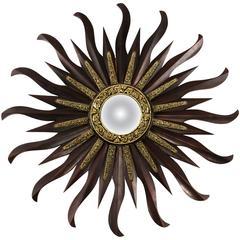 Midcentury Convex Starburst Mirror