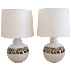 Pair of Ceramic Cut-Out Lamps with Custom Shades