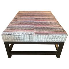 Large Ottoman by Nathan Turner, Upholstered with Vintage Mattress Fabric