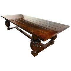 Large French Farmhouse Refectory Oak Table Dining