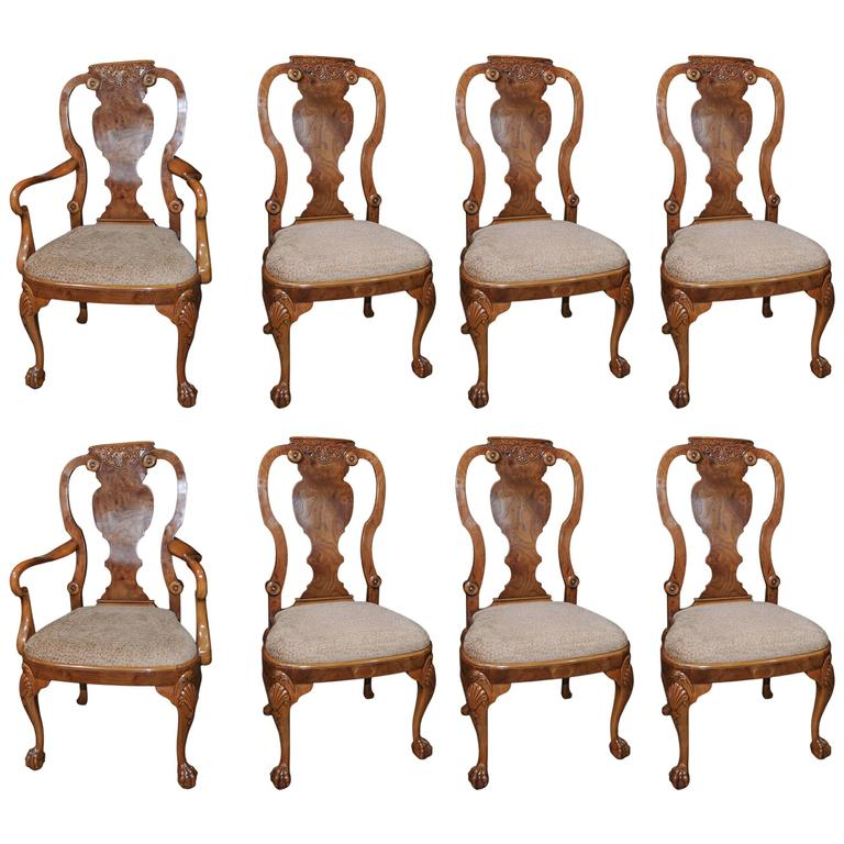 Set of eight walnut queen anne style dining chairs at 1stdibs for Dining room chairs queen anne