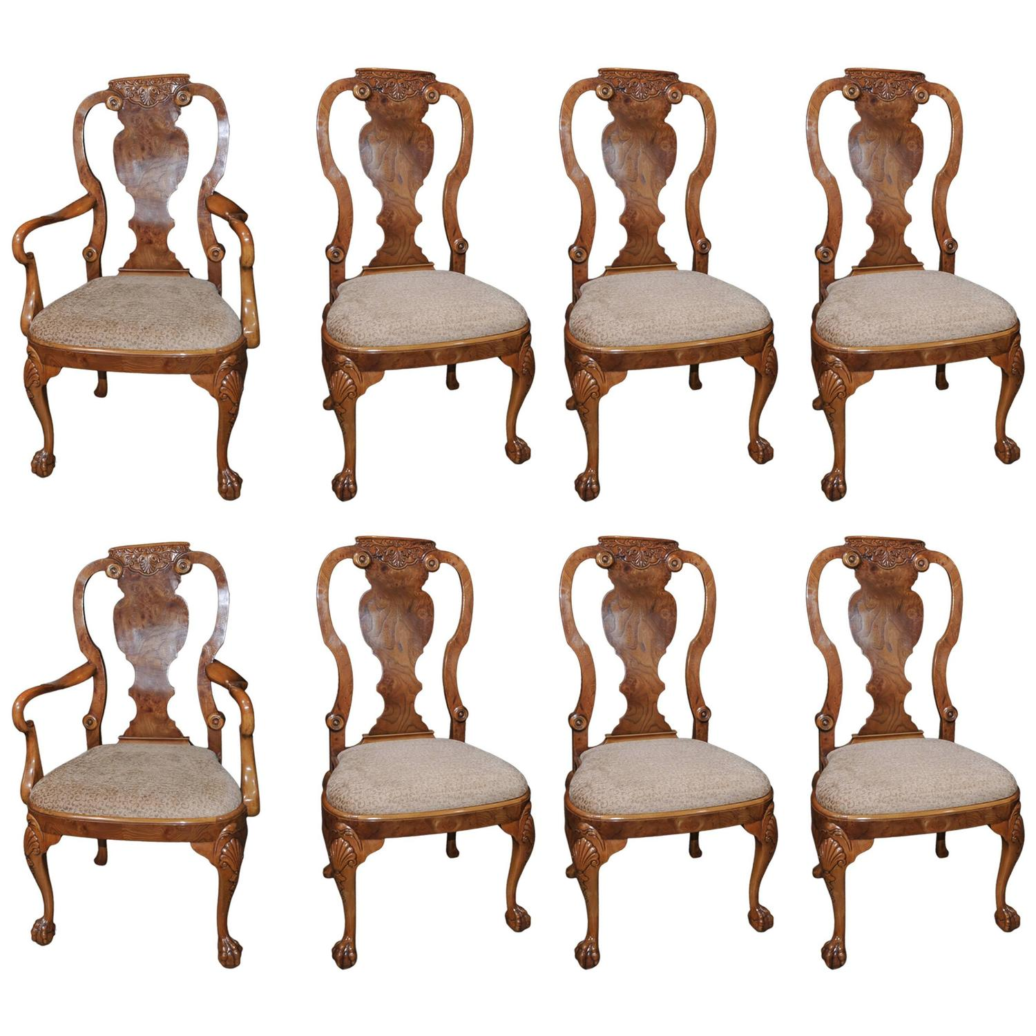 Set of eight walnut queen anne dining chairs for sale at for Dining room chairs queen anne