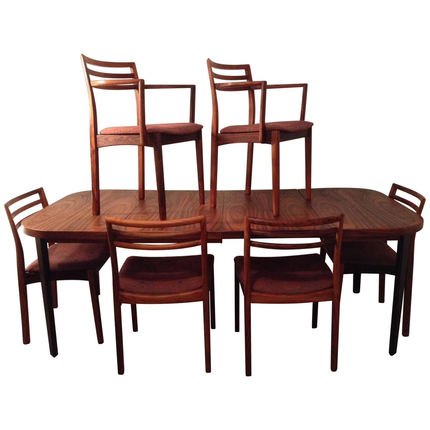 Classic Danish Modern Rosewood Dining Set In The Manner Of Neils M Ller For S