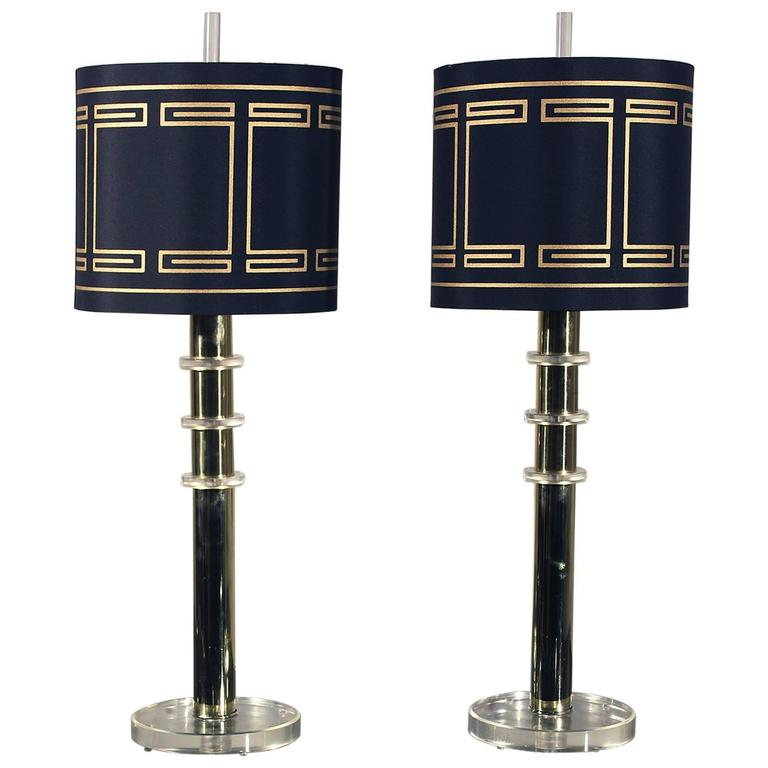 Modern Brass and Lucite Lamps
