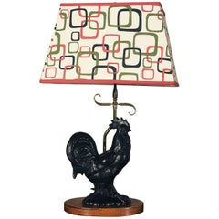 Vintage Mid-Century Black Ceramic Rooster Table Lamp