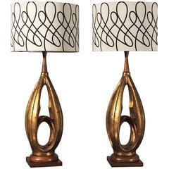 Vintage Pair Plasto Mid-Century Modern Faux Gold Leafed Hollywood Regency Lamps