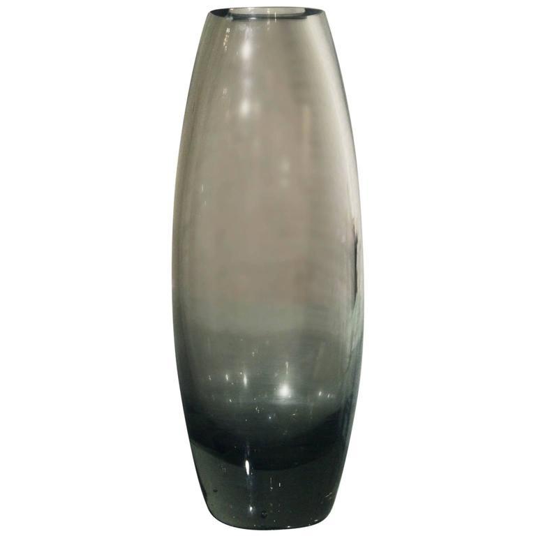 Vintage Mid Century Hellas Glass Vase Smoke Grey By Per Lutken For