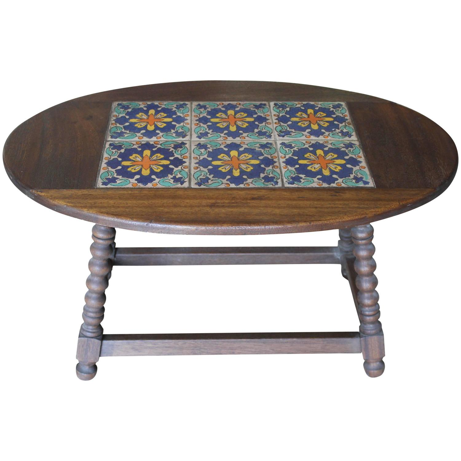 Monterey Style Tile Coffee Table For Sale At 1stdibs