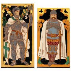 Medieval Knights Figural Art Tiles Ramos Rejano Sevilla, Spain