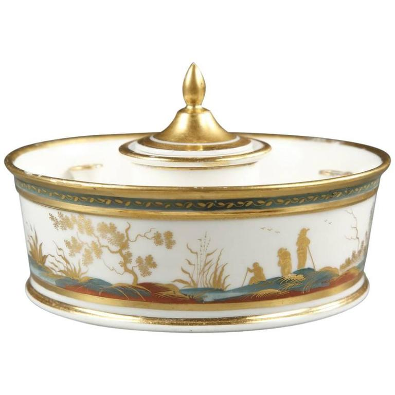 French, Louis XVI Porcelain Inkwell Decorated with Figures in a Landscape