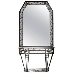 Exceptional French Console and Mirror Art Deco