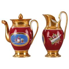 Empire Porcelain Set Coffee Pot and Pitcher, Early 19th Century