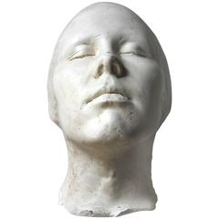 Very Good 20th Century Plaster Death Mask of a Female