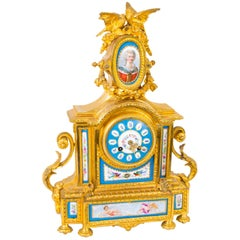 19th Century French Ormolu Sevres Porcelain Mantel Clock