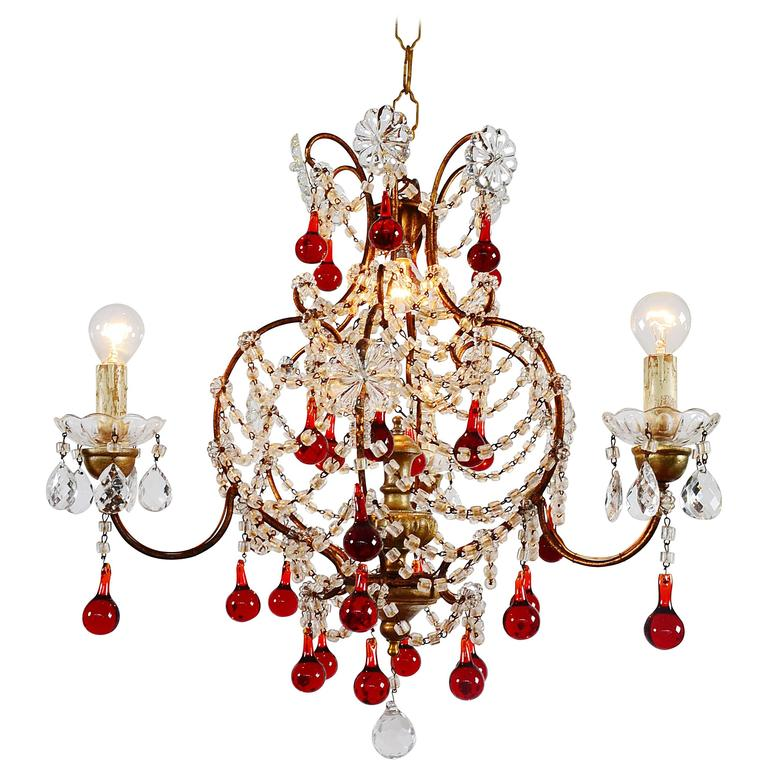 Red Murano Chandelier: Italian Murano Red Glass Drops Chandelier, 1950s With Four