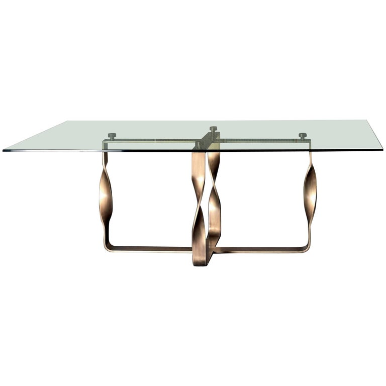 Torsade Table Bronze Base Legs and Glass Top For Sale