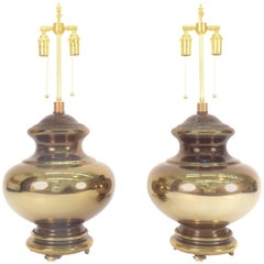 Pair of Large Amber Mercury Glass Lamps