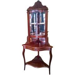 Edwardian Mahogany Corner Cupboard on Stand
