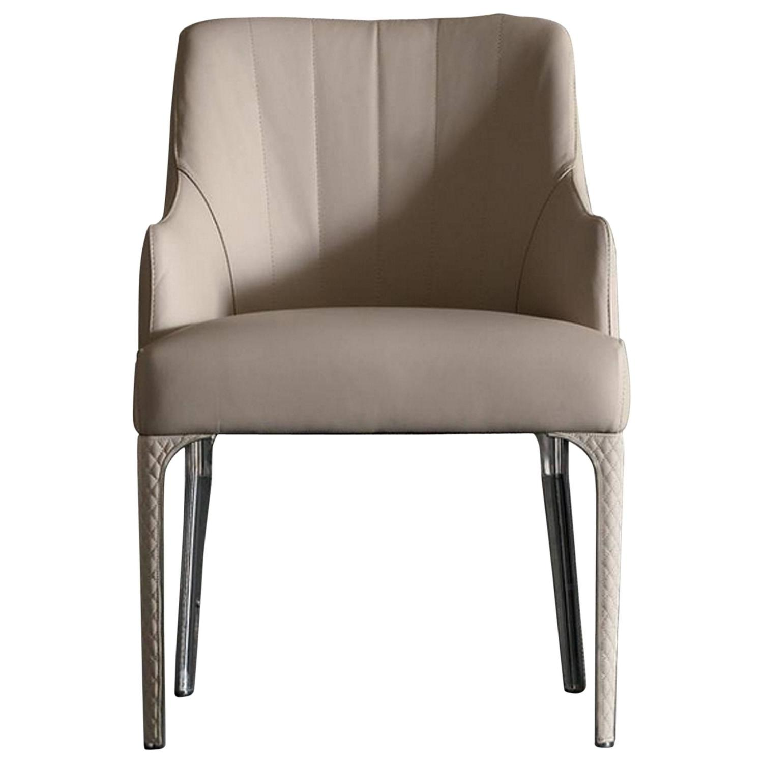 Prima chair in genuine leather and bronze structure for for Genuine leather dining room chairs