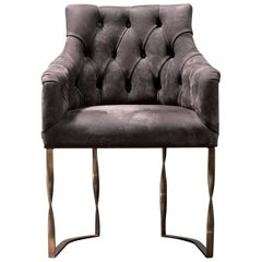 Katawa Chair Leather and Bronze Structure