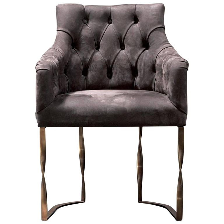 Katawa Chair Leather and Bronze Structure For Sale