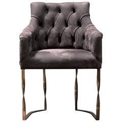 Katawa Sessel aus Leder und Bronze