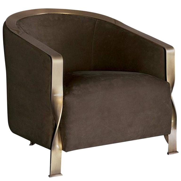 Torsade Armchair in Fabric with Bronze Structure For Sale