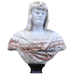 Extra Large Italian Marble Bust Norse Warrior Carved Game Thrones Sculpture