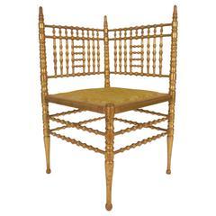 Italienischer Eckstuhl aus Vergoldetem Bambus