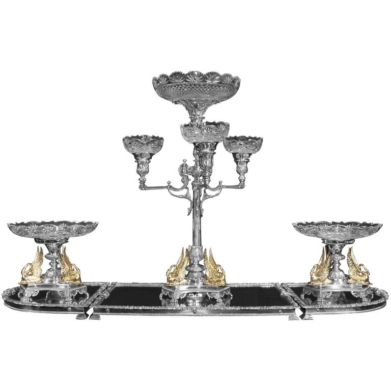 Victorian style silver plate epergne centerpiece gilt swan