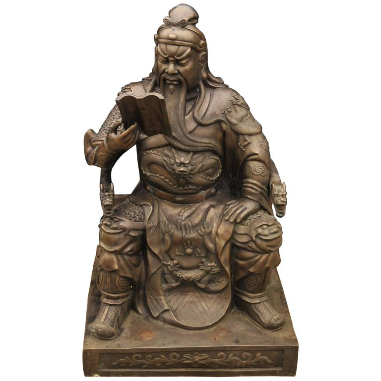Big Japanese Bronze Statue Reading Man Emperor Shogun