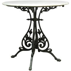 French Art Nouveau Marble-Top Bistro Table
