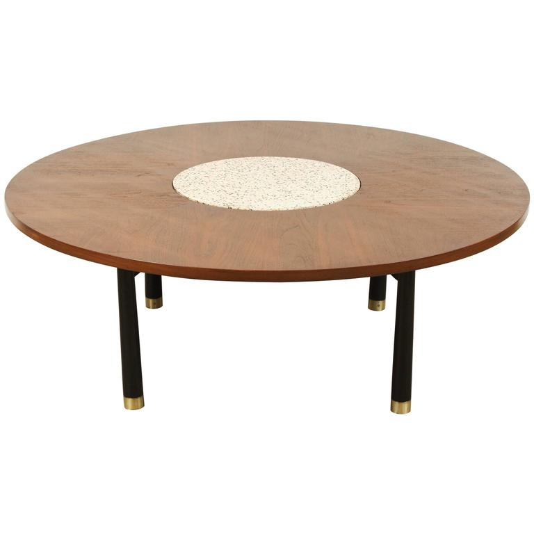 Terrazzo And Walnut Coffee Table By Harvey Probber At 1stdibs