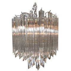 Mid-Century Glass and Silvered Metal Round Chandelier