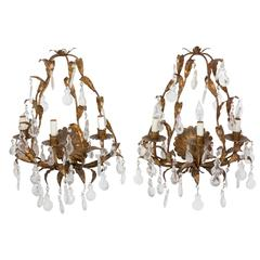 Pair Gilded Italian Metal Foliate 3 Light Sconces with Scallop shape Crystals