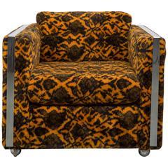 Milo Baughman Style Club Chair with Polished Chrome
