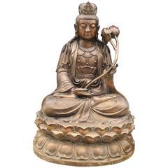 Large Bronze Buddha Statue Lotus Flower Sculpture Buddhism Burmese Buddhist