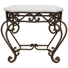 Wrought Iron and Travertine Console