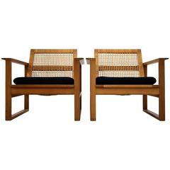 Børge Mogensen, Pair of Oak and Cane Lounge Chairs