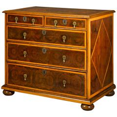 English William and Mary Oysterwood Chest