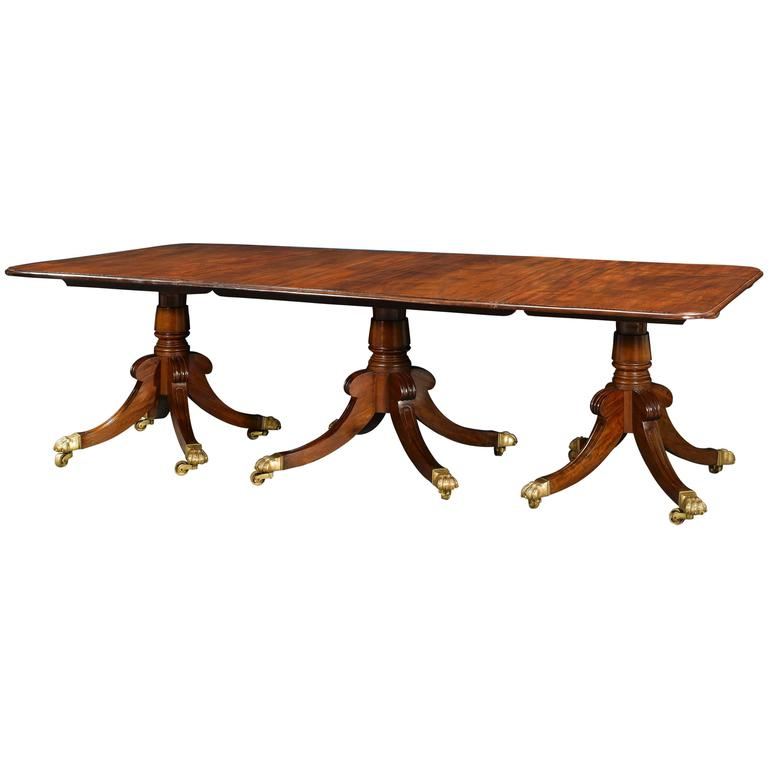 19th Century Three Pedestal Regency Dining Table