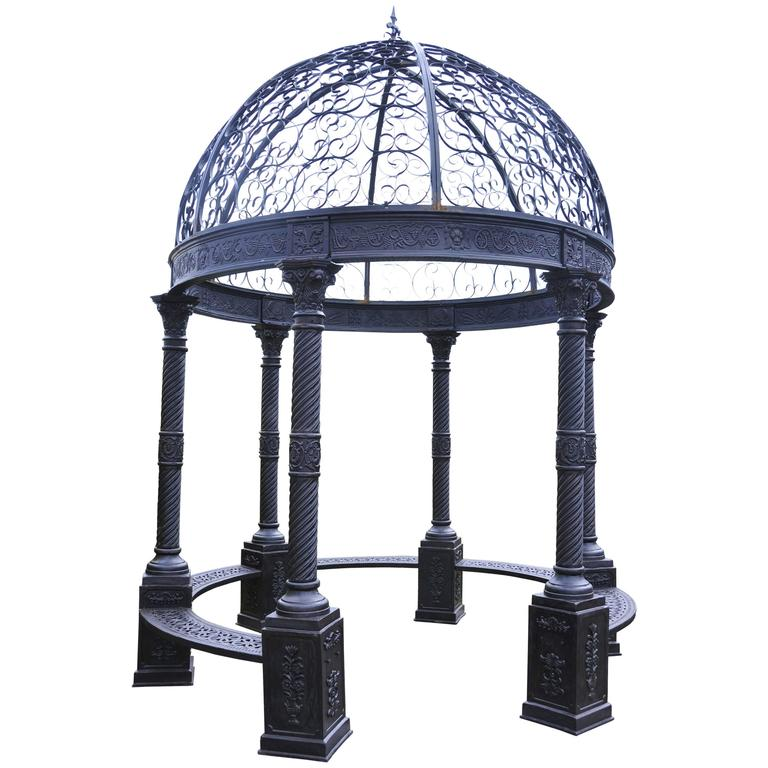 Large Victorian Cast Iron Gazebo Architectural Garden Seat ...